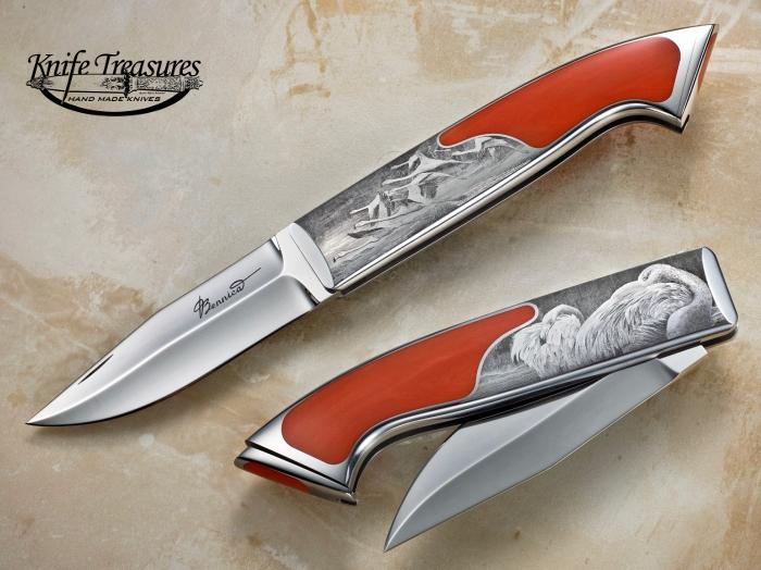 Custom Folding-Inter-Frame, Tail Lock, RWL-34 Stainless Steel , Red Coral Knife made by Charly Bennica