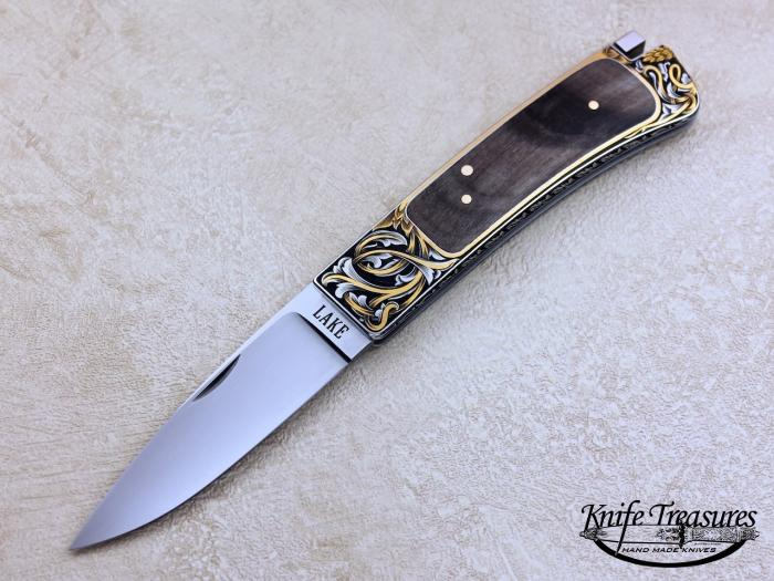 Custom Folding-Inter-Frame, Tail Lock, ATS-34 Stainless Steel, Rocky Mountain Sheep Horn Knife made by Ron Lake