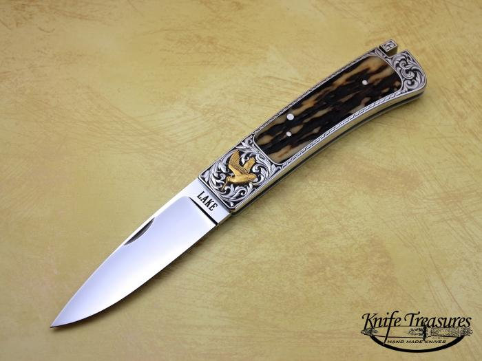 Custom Folding-Inter-Frame, Tail Lock, RWL-34 Steel, Stag Knife made by Ron Lake