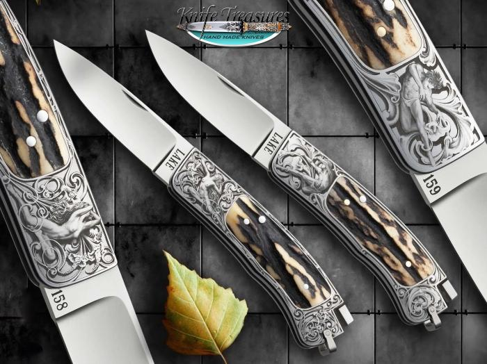 Custom Folding-Inter-Frame, Tail Lock, ATS-34 Stainless Steel, Stag Knife made by Ron Lake