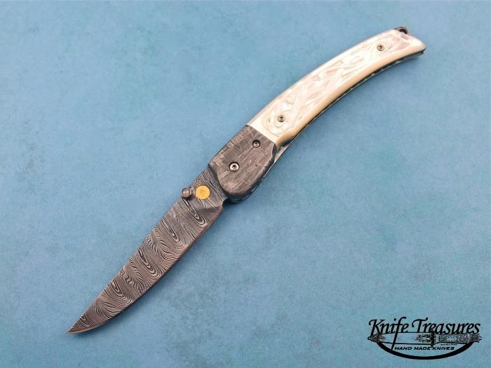 Custom Folding-Bolster, Liner Lock, Damascus Steel, Carved Mother Of Pearl Knife made by Donald  Bell