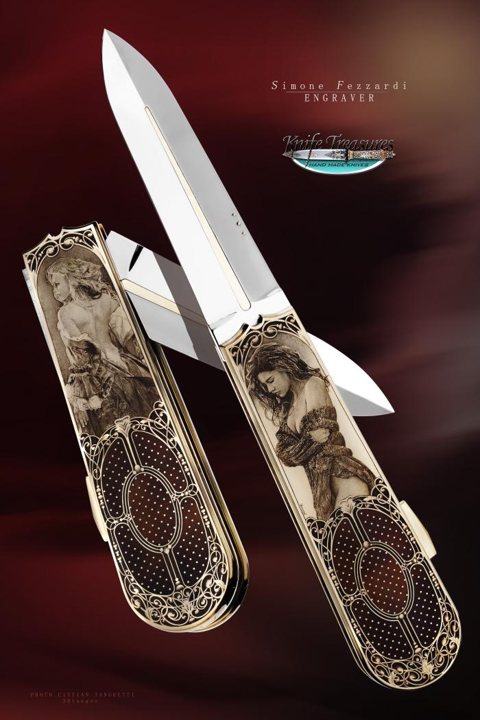 Custom Folding-Inter-Frame, N/A, ATS-34 Stainless Steel	, Pen shell W/Gold Pins  Knife made by Antonio Fogarizzu