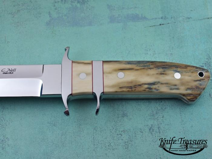 Custom Fixed Blade, N/A, ATS-34 Stainless Steel, Fossilized Mammoth  Knife made by Chad Nell