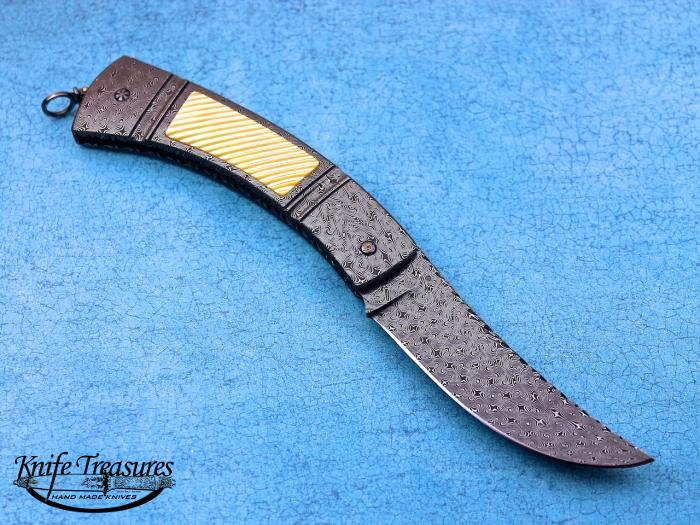 Custom Folding-Inter-Frame, Tail Lock, Jerry Rados Turkish Twist Damascus, Gold Lip Pearl Knife made by Jerry Rados