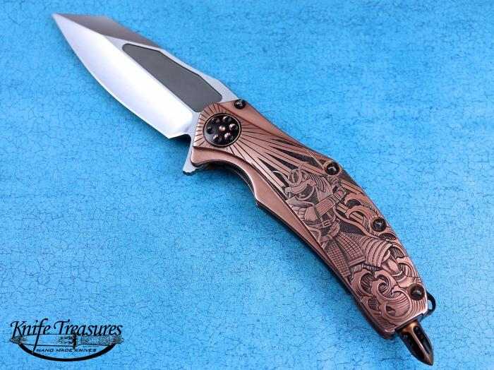 Custom Folding-Inter-Frame, Liner Lock, Polished Elmax, Copper Knife made by Anthony Marfione