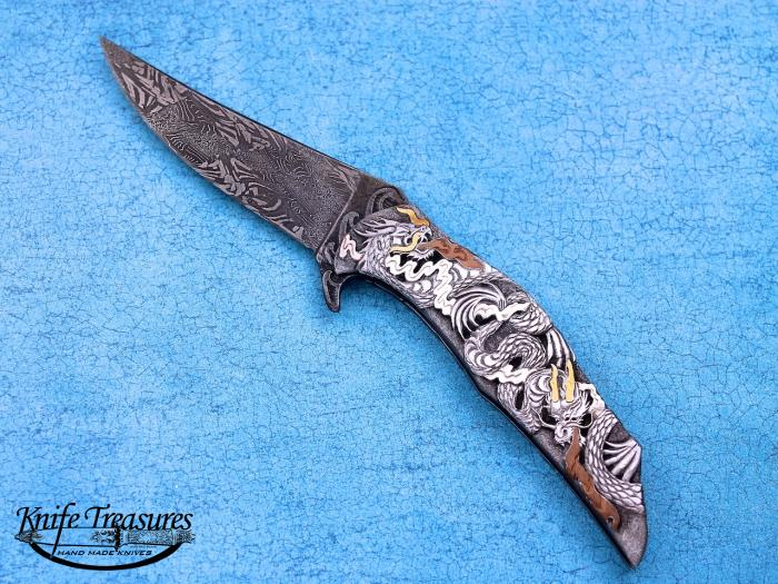 Custom Folding-Inter-Frame, Liner Lock, Damascus Steel by Maker, 416 Stainless Steel Knife made by Jody Muller