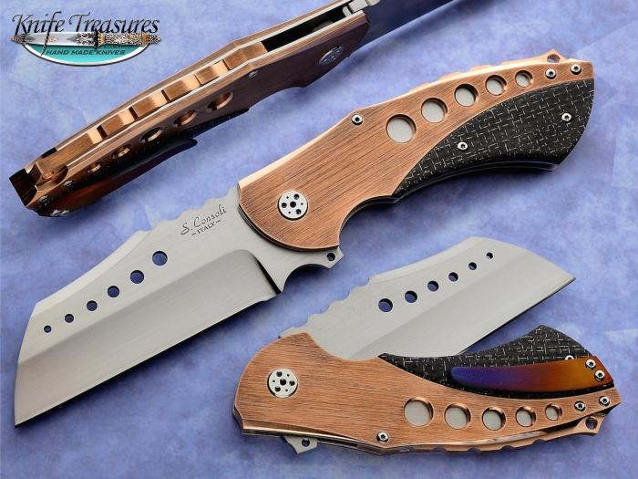 Custom Folding-Inter-Frame, Liner Lock, RWL-34 Steel, Lighting Strike Carbon Fiber Knife made by Sergio Consoli