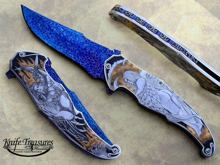 Custom Folding-Inter-Frame, Liner Lock, Dragon Skin Damascus by Bertie Rietveld, 416 Stainless Steel Knife made by Sergio Consoli
