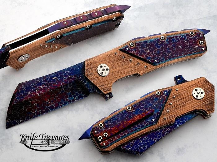Custom Folding-Bolster, Liner Lock, Dragon Skin Damascus by Bertie Rietveld, Dragon Skin Damascus by Bertie Rietveld Knife made by Sergio Consoli