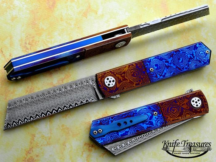 Custom Folding-Inter-Frame, Liner Lock, Stainless Ladder Pattern Damascus, Timascus Knife made by Sergio Consoli