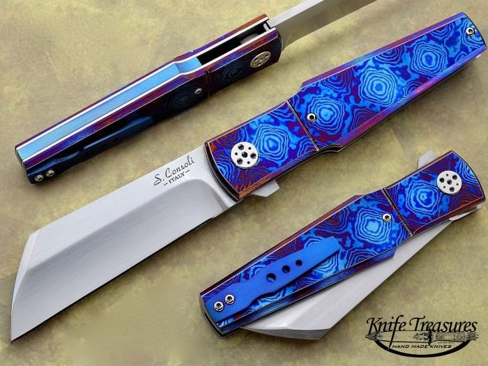 Custom Folding-Bolster, Liner Lock, RWL-34 Steel, Timascus Knife made by Sergio Consoli