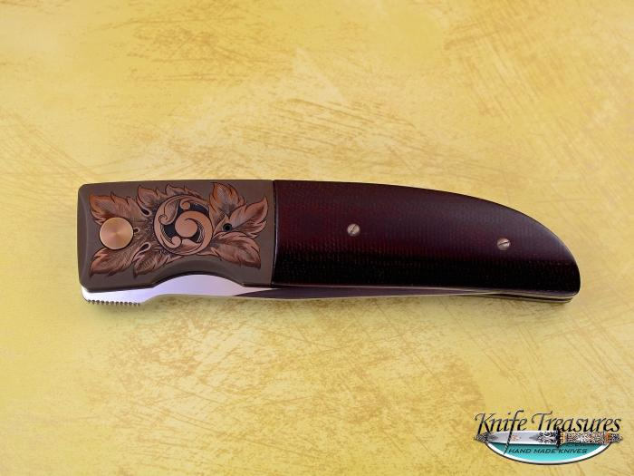 Custom Folding-Bolster, Liner Lock, ATS-34 Stainless Steel, Brown Micarta Knife made by Michael Walker