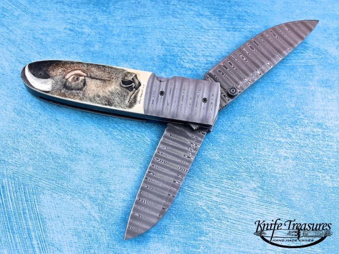 Custom Folding-Bolster, Liner Lock, Ladder Pattern Damascus, Phenolic Knife made by Kit Carson
