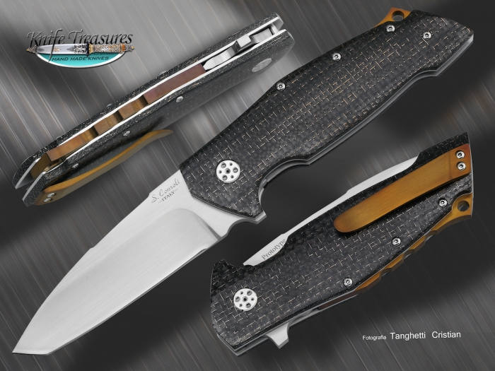 Custom Folding-Inter-Frame, Liner Lock, RWL-34, Lighting Strike Carbon Fiber Knife made by Sergio Consoli