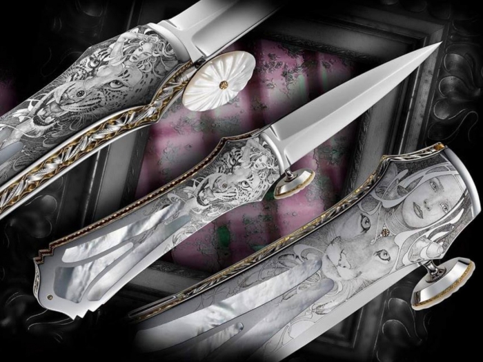 Custom Folding-Inter-Frame, Lock Back, RWL-34 Steel, Mother Of Pearl Knife made by Salvatore Puddu