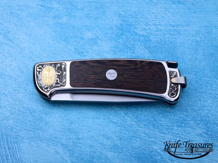 Custom Folding-Inter-Frame, Tail Lock, D-2, Wood Knife made by Ted Dowell
