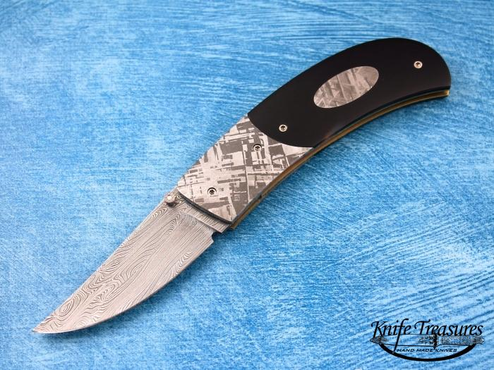 Custom Folding-Bolster, Liner Lock, Damascus Steel, Buffalo Horn Knife made by Bill Ankrom