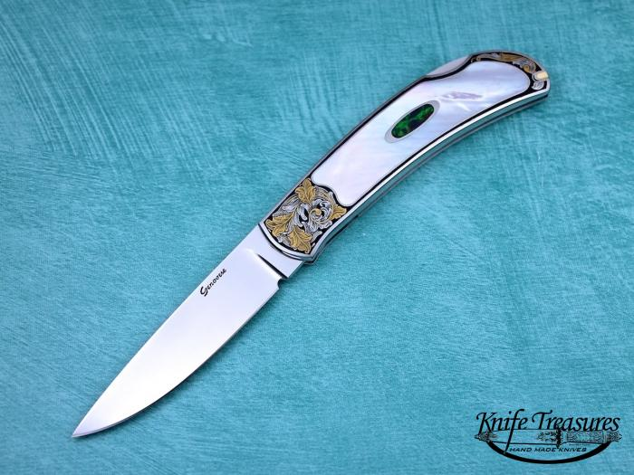 Custom Folding-Inter-Frame, Lock Back, ATS-34 Stainless Steel, Mother Of Pearl & Opal Knife made by Rick Genovese