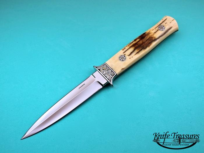 Custom Fixed Blade, N/A, ATS-34 Stainless Steel, Fossilized Mammoth  Knife made by John  Young
