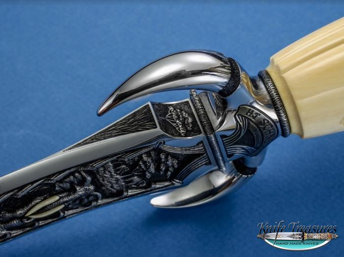 Custom Fixed Blade, N/A, ATS-34 Stainless Steel, Fossilized, Carved Mammoth Knife made by Herman Schneider