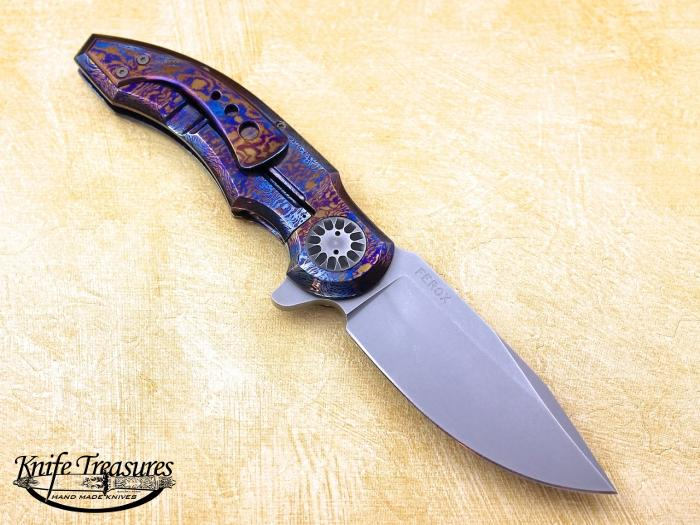 Custom Folding-Bolster, Liner Lock, n690co, Timascus Knife made by  Gudy Van Poppel