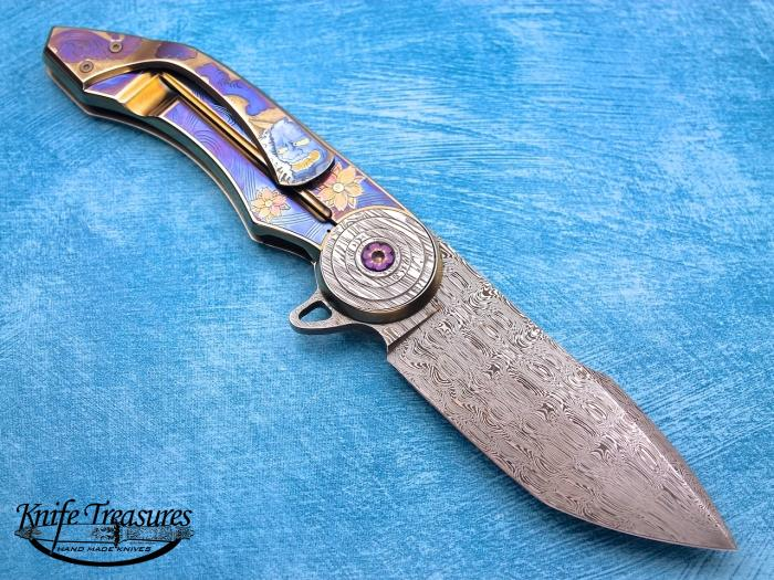 Custom Fixed Blade, N/A, Damascus Steel By Maker, Titanium Knife made by  Gudy Van Poppel