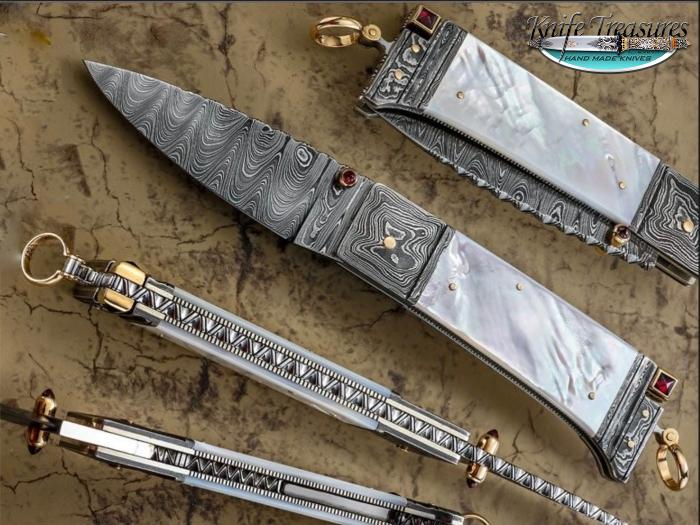 Custom Fixed Blade, N/A, Damascus Steel by Maker, Mother Of Pearl Knife made by  Dellana