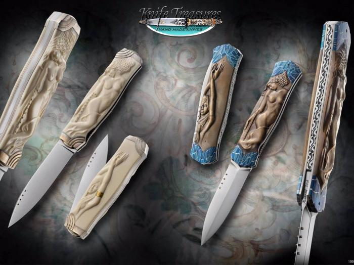Custom Folding-Bolster, Liner Lock, RWL-34 Stainless Steel , Bronze and Fossilzed Mammoth Knife made by Josef Rusnak