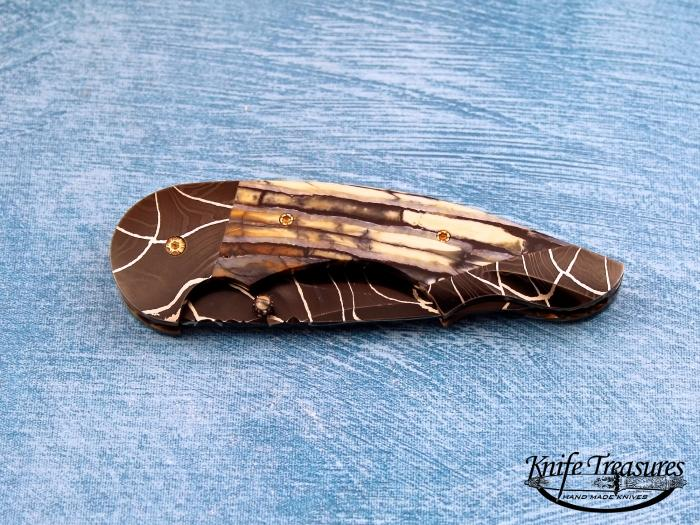 Custom Folding-Bolster, Liner Lock, Robert Eggerling Damascus, Fossilized Mammoth Tooth Knife made by Stan Wilson