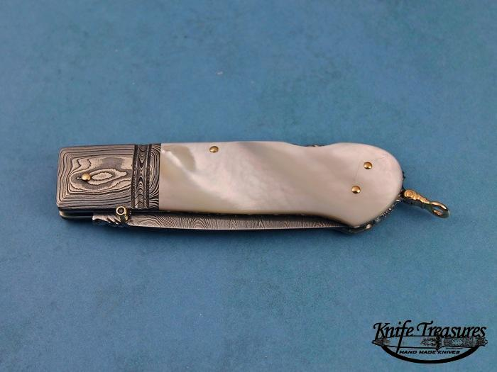 Custom Folding-Bolster, Lock Back, Damascus Steel by Maker, Mother Of Pearl Knife made by Barry Davis