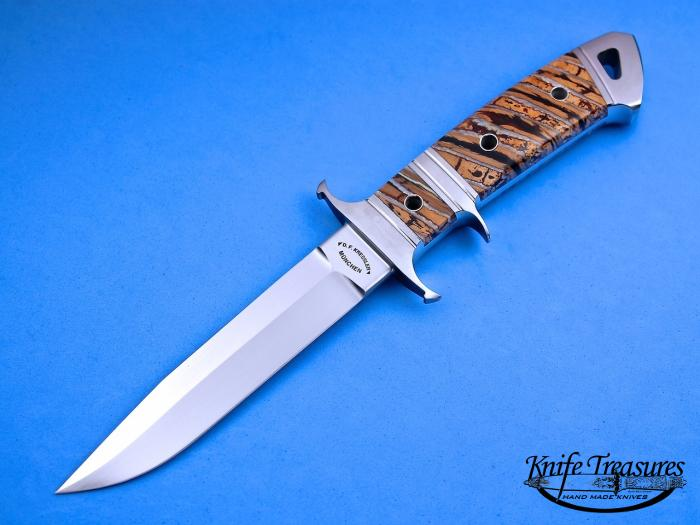 Custom Fixed Blade, N/A, RWL-34 Stainless Steel , Fosslized Mammoth Tooth Knife made by Dietmar Kressler