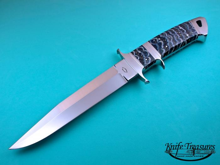 Custom Fixed Blade, N/A, ATS-34 Stainless Steel, Fossilized Mammoth Tooth Knife made by Dietmar Kressler