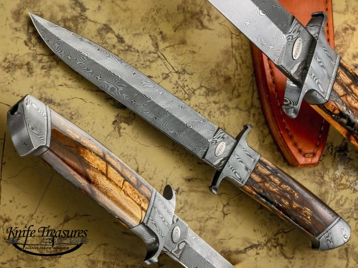 Custom Fixed Blade, N/A, Stainless Damascus, Fossilized Mammoth  Knife made by Dietmar Kressler