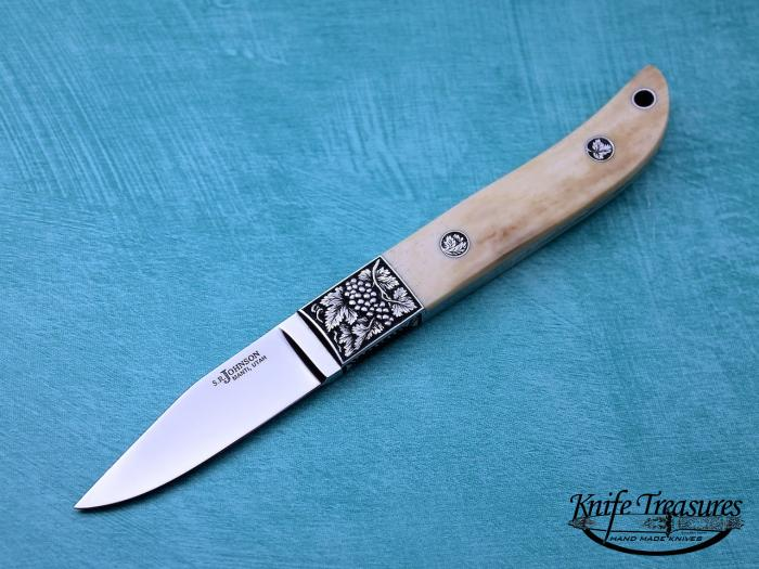 Custom Fixed Blade, N/A, ATS-34 Stainless Steel, Fossilized Walrus Knife made by Steve SR Johnson