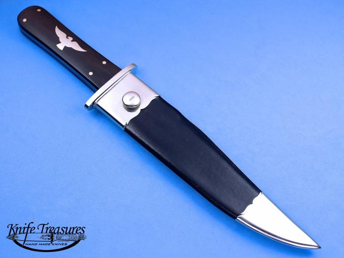 Custom Fixed Blade, N/A, CPM-154, Ebony Wood Knife made by Buster Warenski