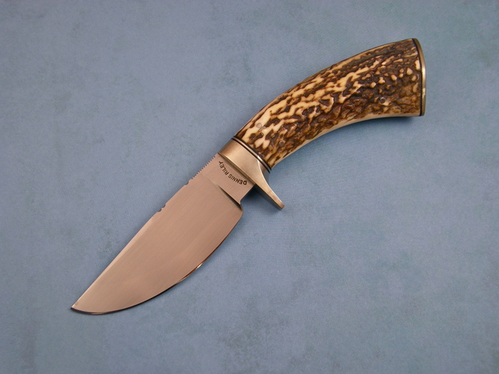 Custom Fixed Blade, N/A, Forged 5160 Steel, Natural Stag Knife made by Dennis Riley